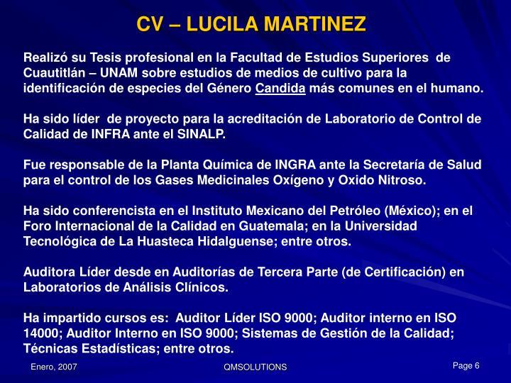 CV – LUCILA MARTINEZ