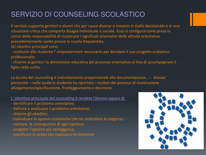 SERVIZIO DI COUNSELING SCOLASTICO