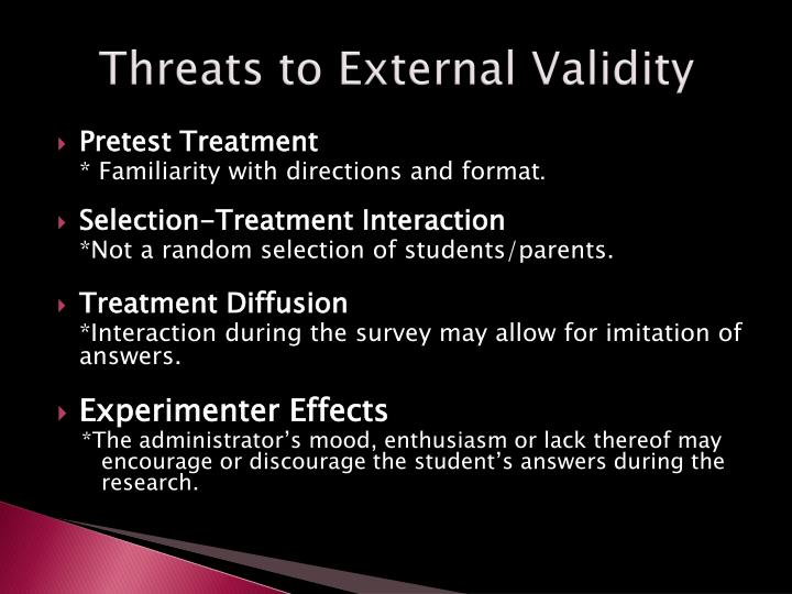 Threats to External Validity