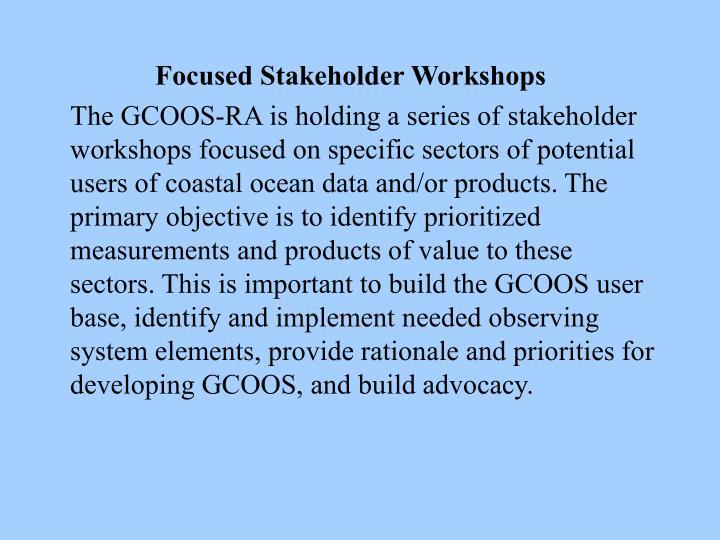 Focused Stakeholder Workshops