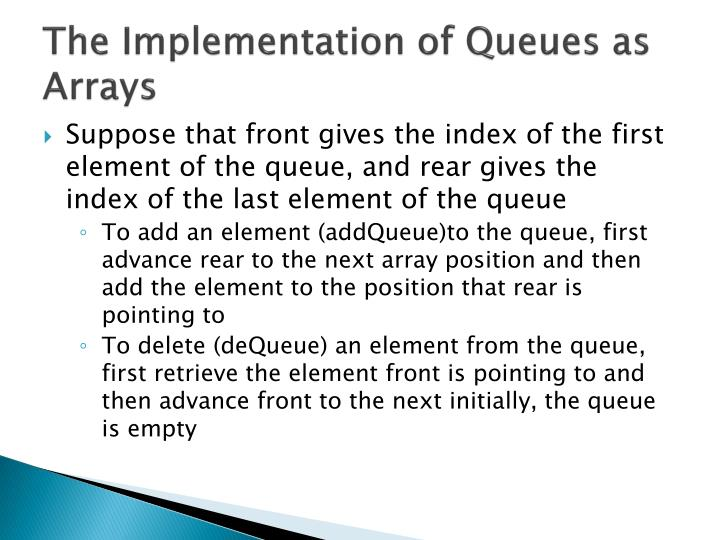 The Implementation of Queues as Arrays