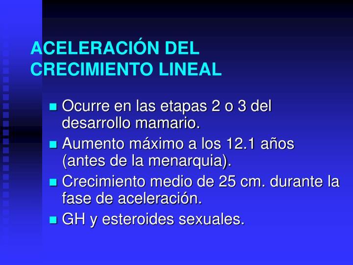 ACELERACIÓN DEL CRECIMIENTO LINEAL