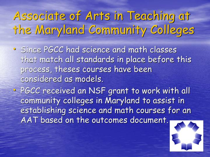 Associate of Arts in Teaching at the Maryland Community Colleges