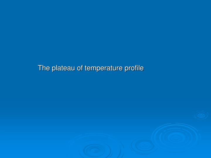 The plateau of temperature profile