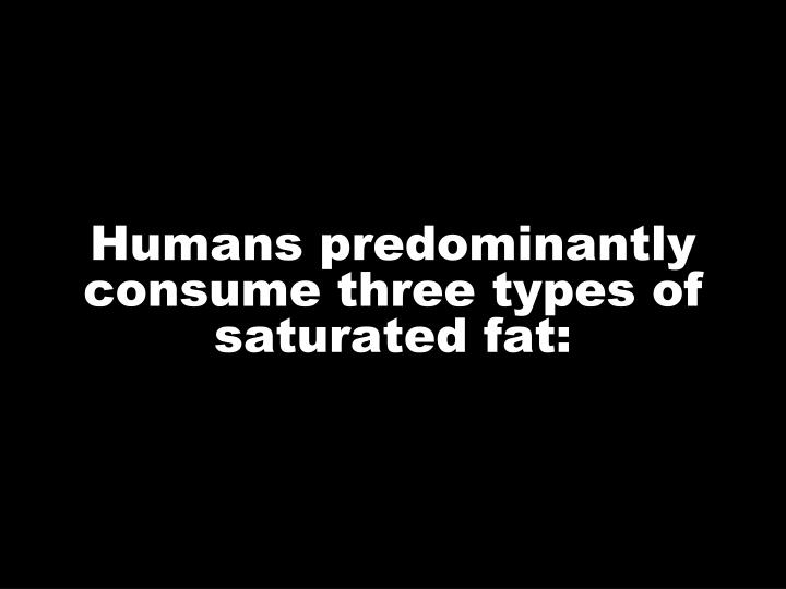 Humans predominantly consume three types of saturated fat: