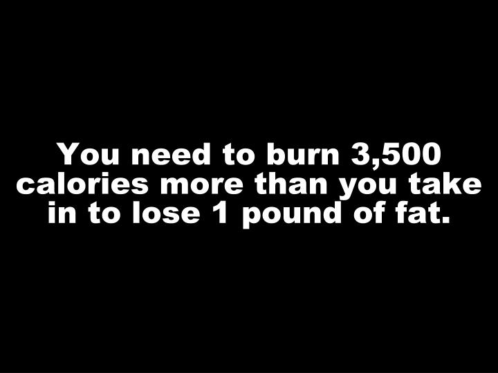 You need to burn 3,500 calories more than you take in to lose 1 pound of fat.