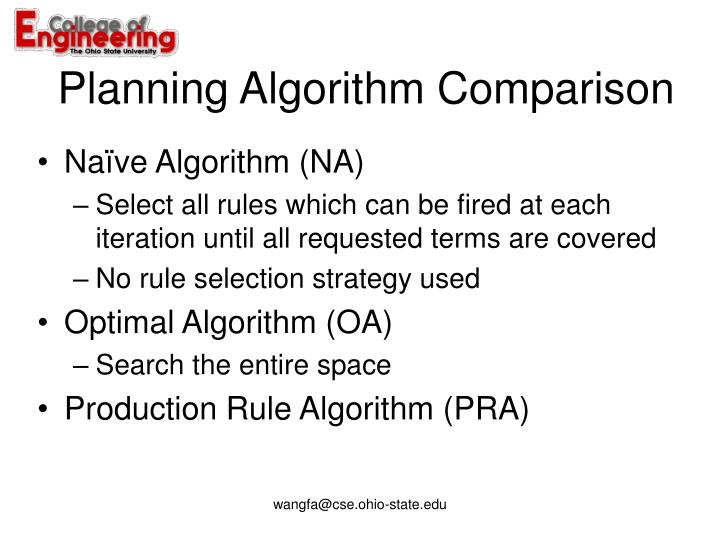 Planning Algorithm Comparison