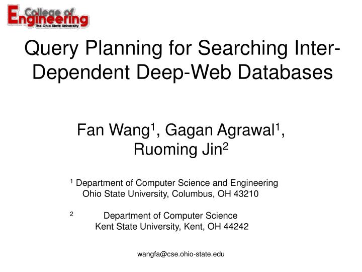 Query Planning for Searching Inter-Dependent Deep-Web Databases