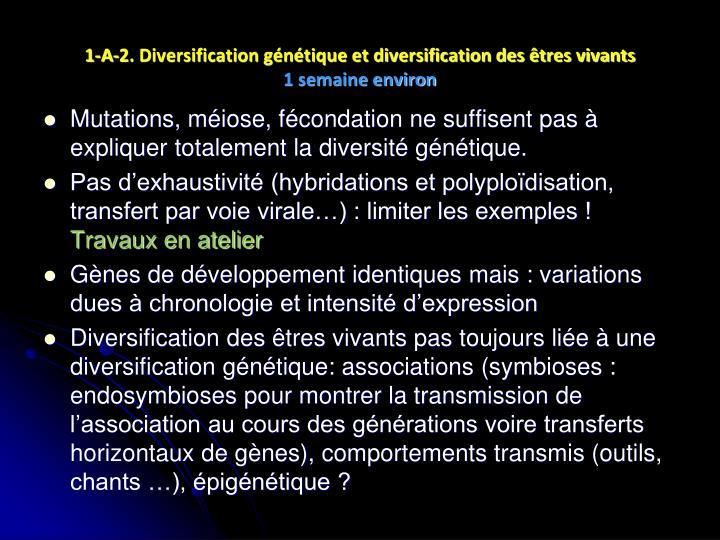 1-A-2. Diversification génétique et diversification des êtres vivants