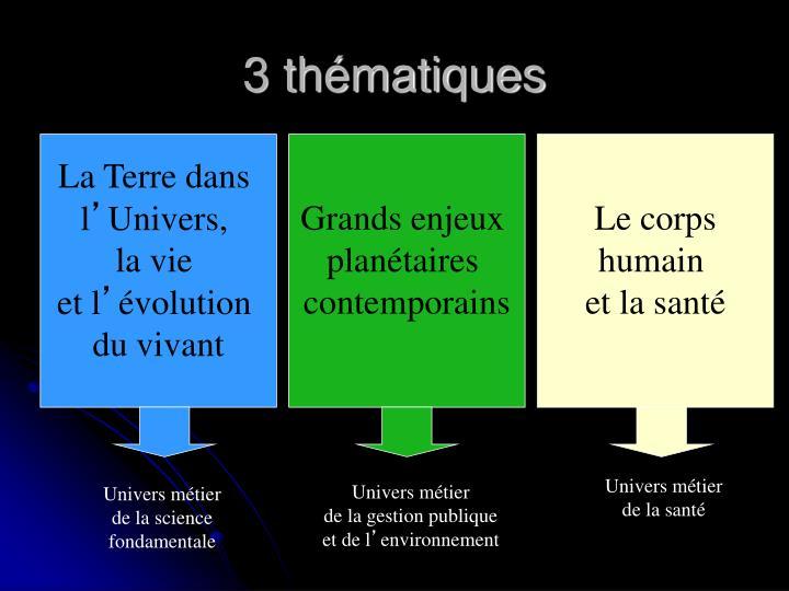 3 thématiques