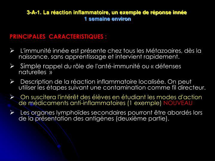 3-A-1. La réaction inflammatoire, un exemple de réponse innée