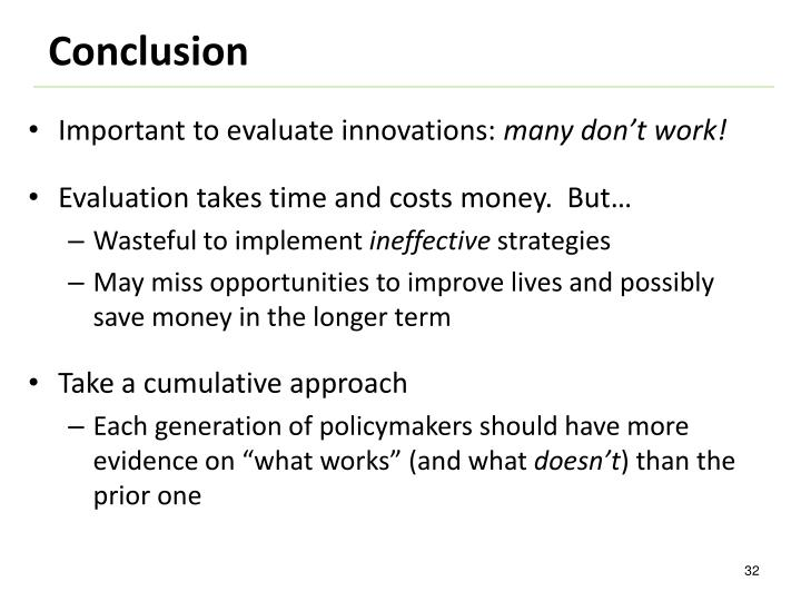 Important to evaluate innovations: