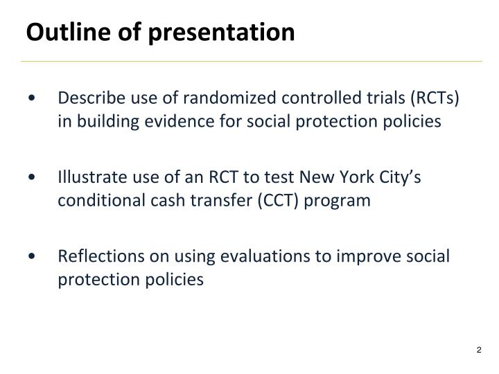 Describe use of randomized controlled trials (RCTs) in building evidence for social protection policies