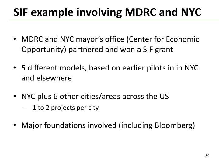 MDRC and NYC mayor's office (Center for Economic Opportunity) partnered and won a SIF grant
