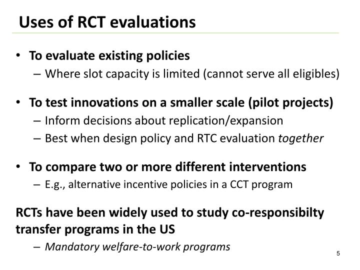 Uses of RCT evaluations