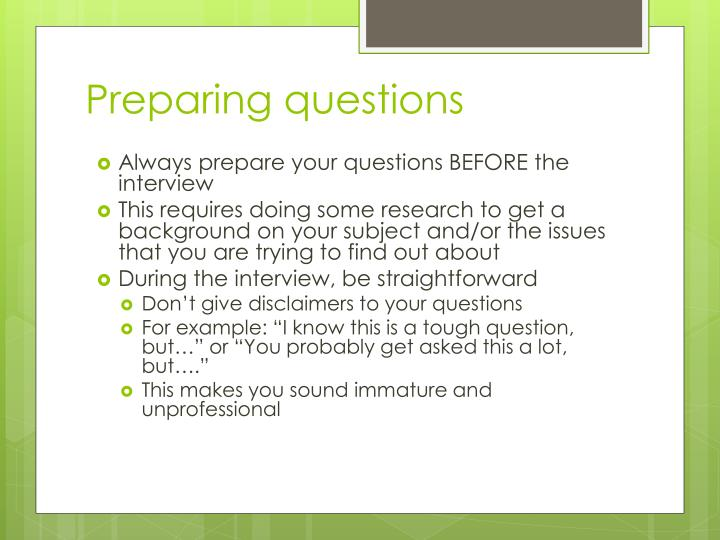 Preparing questions