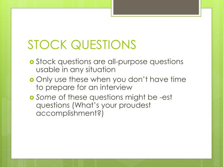 STOCK QUESTIONS