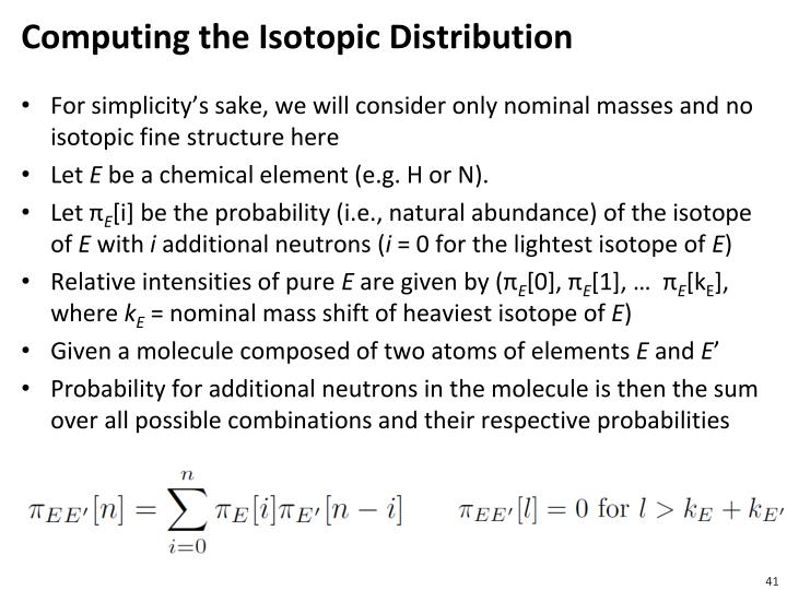 Computing the Isotopic Distribution