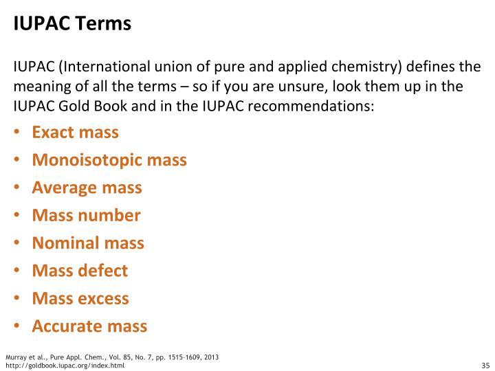 IUPAC Terms