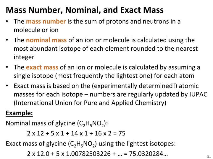 Mass Number, Nominal, and Exact Mass