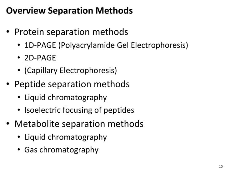 Overview Separation Methods