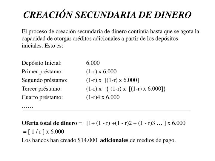 CREACIN SECUNDARIA DE DINERO