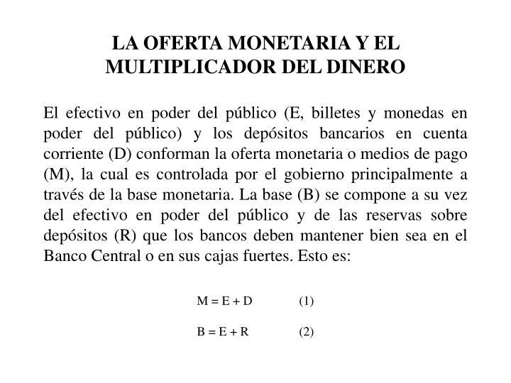 LA OFERTA MONETARIA Y EL MULTIPLICADOR DEL DINERO