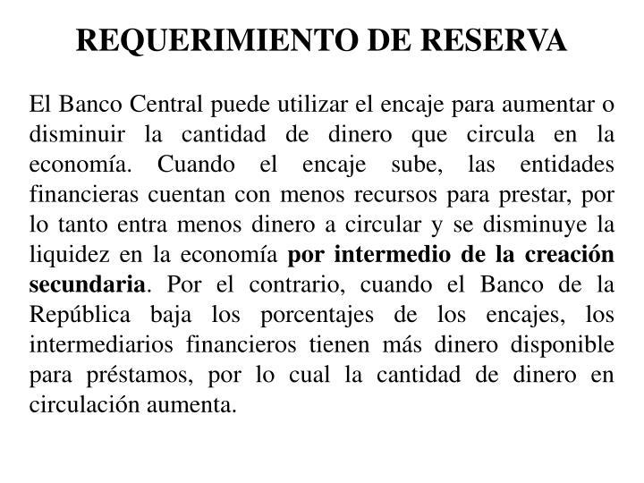 REQUERIMIENTO DE RESERVA