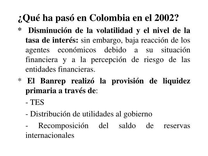 Qu ha pas en Colombia en el 2002?
