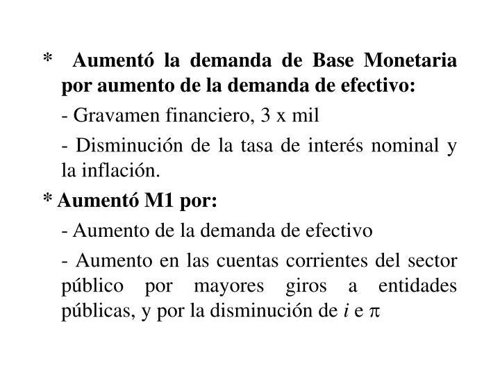 *  Aument la demanda de Base Monetaria por aumento de la demanda de efectivo: