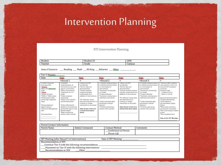 Intervention Planning