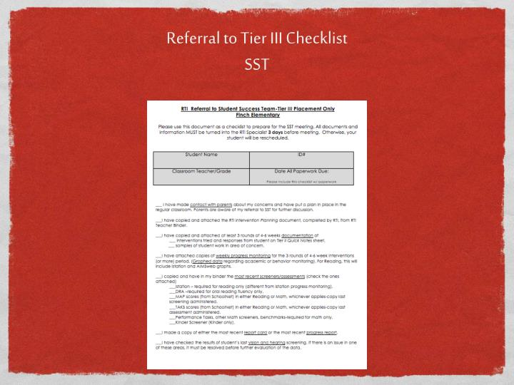Referral to Tier III Checklist
