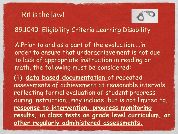 89.1040: Eligibility Criteria Learning Disability