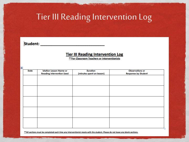 Tier III Reading Intervention Log
