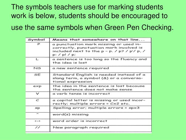 The symbols teachers use for marking students work is below, students should be encouraged to use the same symbols when Green Pen Checking.
