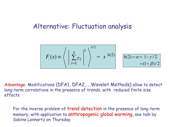Alternative fluctuation analysis