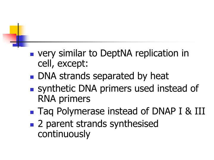 very similar to DeptNA replication in cell, except: