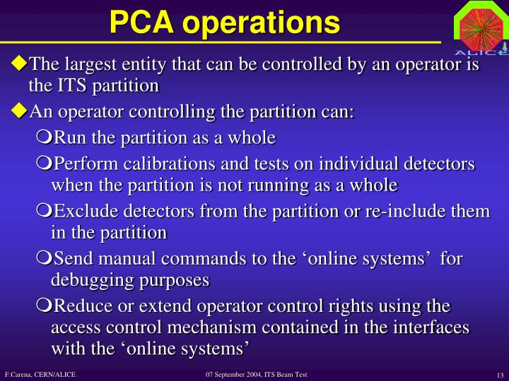 PCA operations