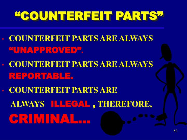 """COUNTERFEIT PARTS"""