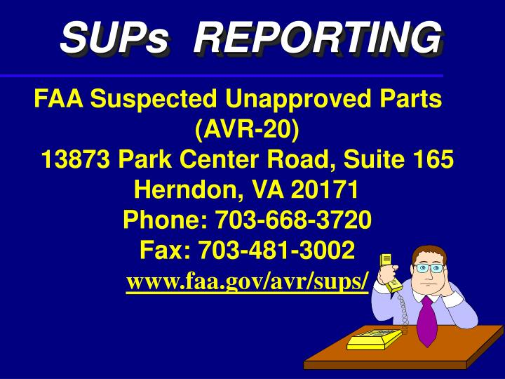 SUPs  REPORTING