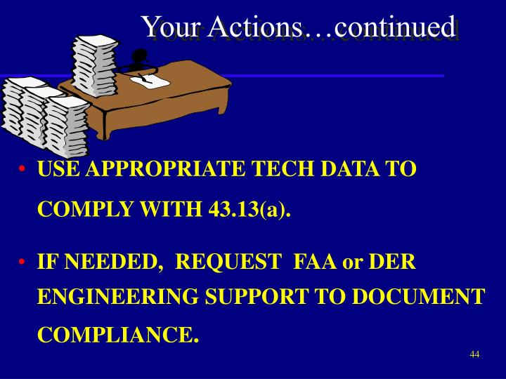 USE APPROPRIATE TECH DATA TO COMPLY WITH 43.13(a).