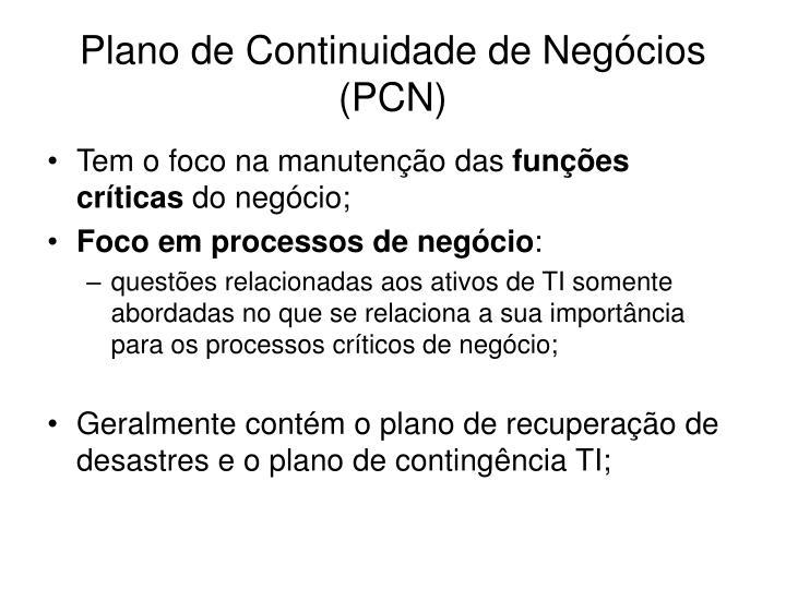 Plano de Continuidade de Negócios (PCN)