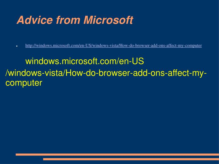 Advice from Microsoft
