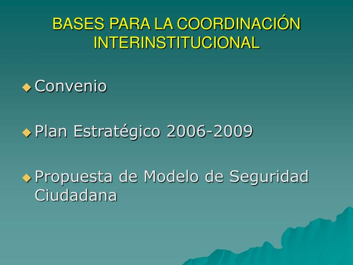 BASES PARA LA COORDINACIÓN INTERINSTITUCIONAL