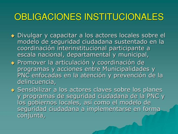 OBLIGACIONES INSTITUCIONALES