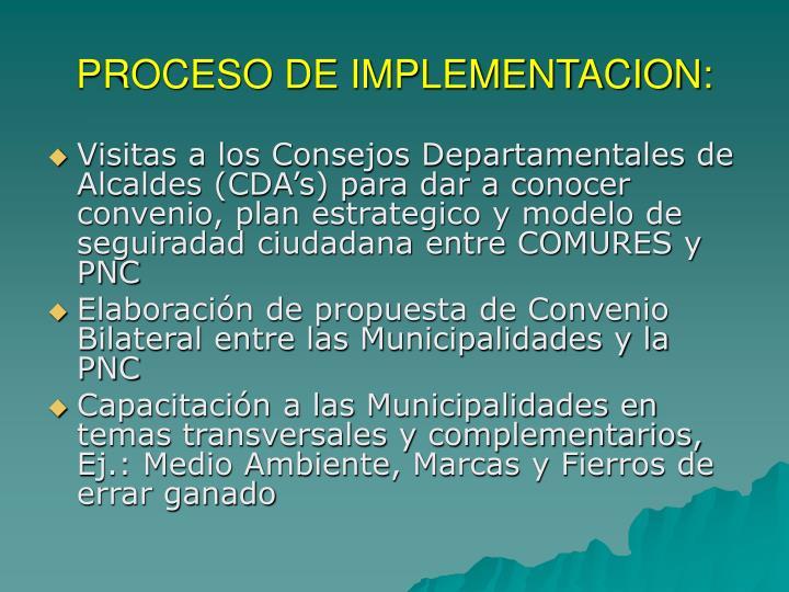 PROCESO DE IMPLEMENTACION: