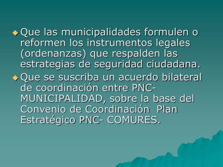 Que las municipalidades formulen o reformen los instrumentos legales (ordenanzas) que respalden las estrategias de seguridad ciudadana.