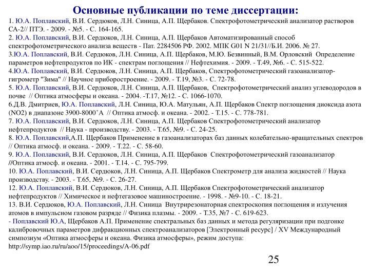 Основные публикации по теме диссертации: