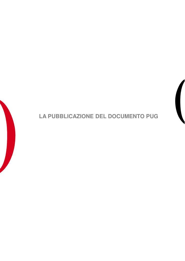 LA PUBBLICAZIONE DEL DOCUMENTO PUG