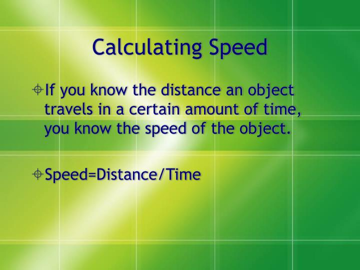 Calculating Speed